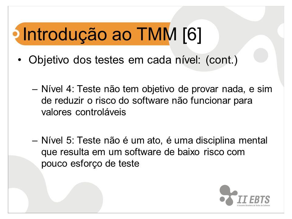 Introdução ao TMM [6] Objetivo dos testes em cada nível: (cont.)